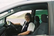 Morag in her car